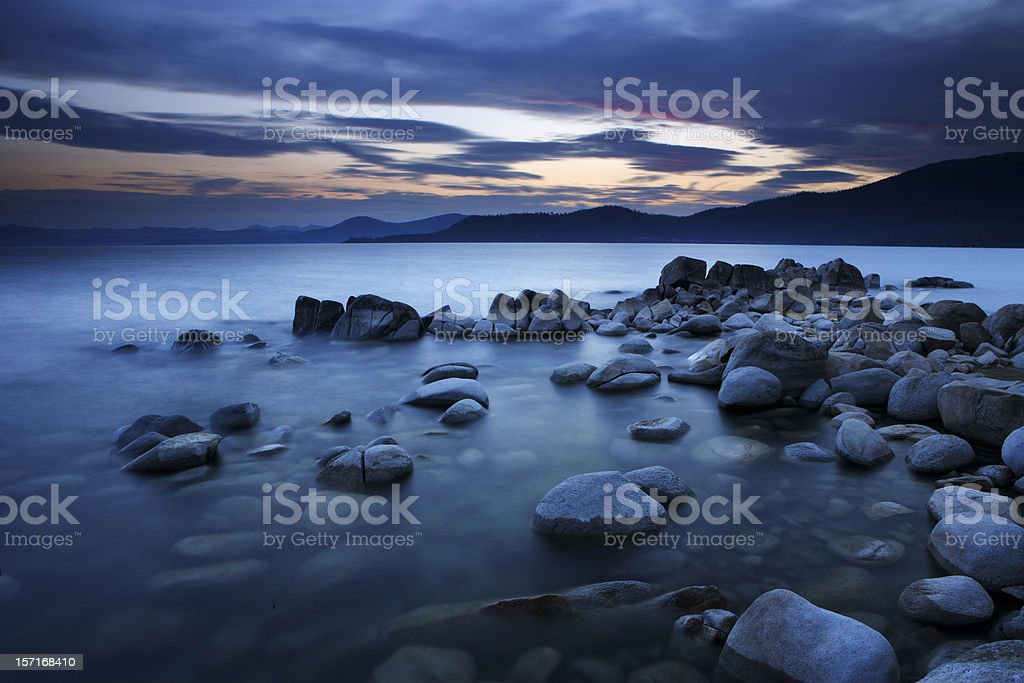 Sunset at Lake Tahoe, California stock photo