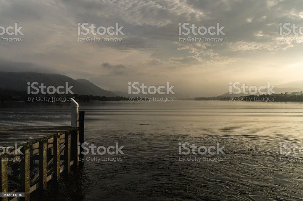 Sunset at Lake Ulstwater stock photo