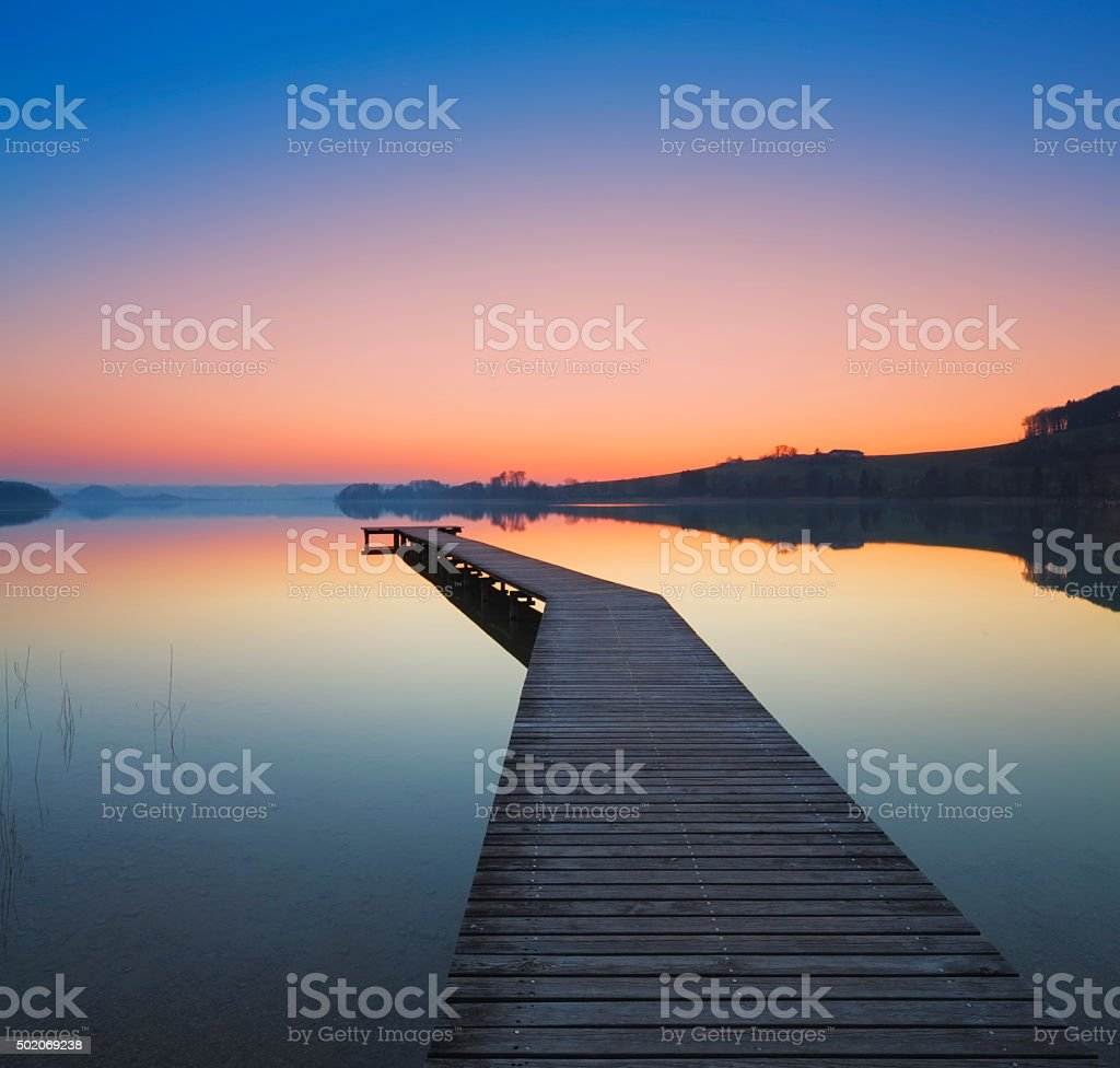 Sunset at lake Waller in Austria stock photo