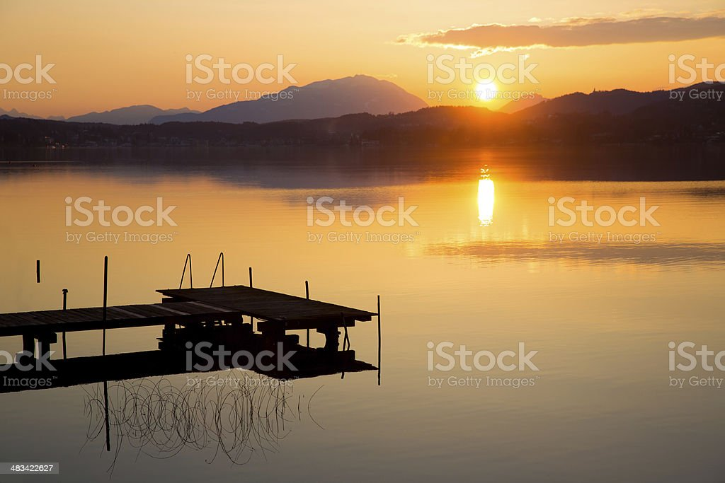 sunset at Lake W?rthersee royalty-free stock photo