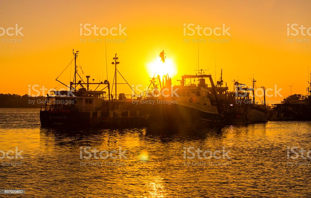 Sunset at Lakes Entrance, Victoria, Australia stock photo