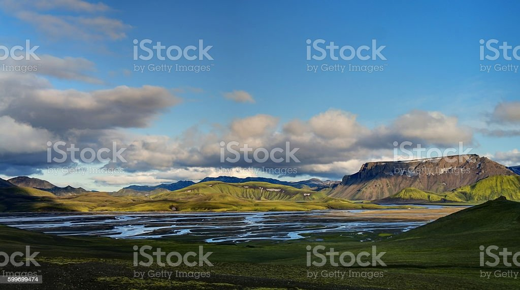 Sunset at Landmannalaugar valley stock photo