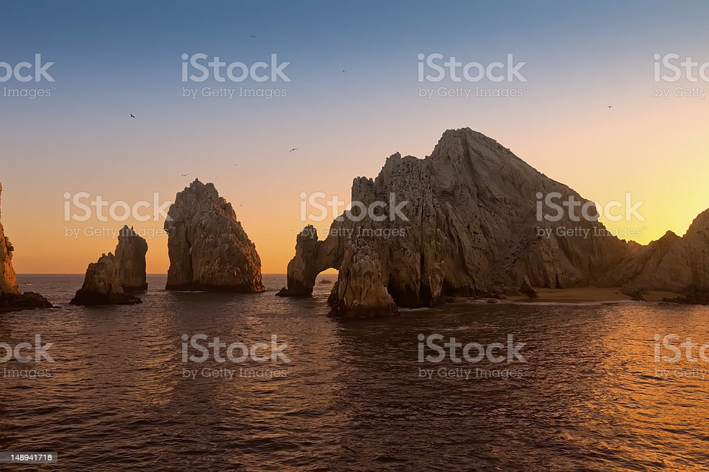 Sunset at Land's End, Mexico stock photo