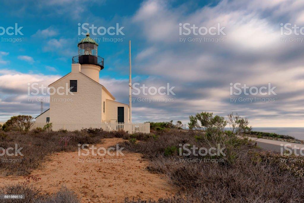 Sunset at Lighthouse Point Loma, San Diego stock photo