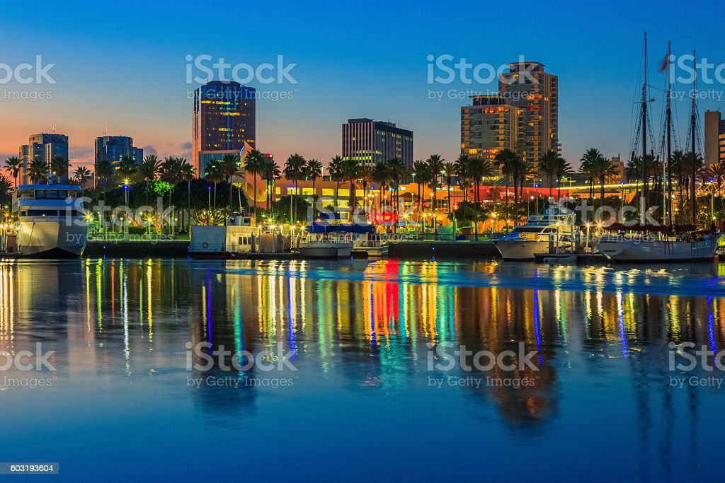 Sunset at Long Beach Harbor with skyline, CA stock photo