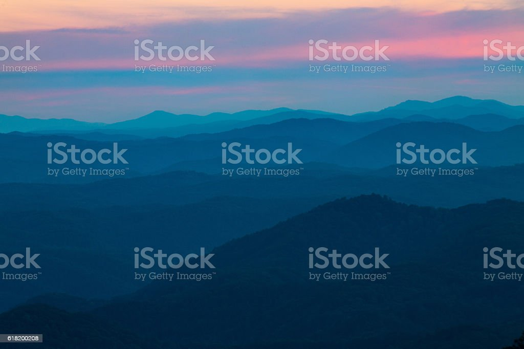 Sunset at Look Rock Smoky Mountains National Park Tennessee stock photo