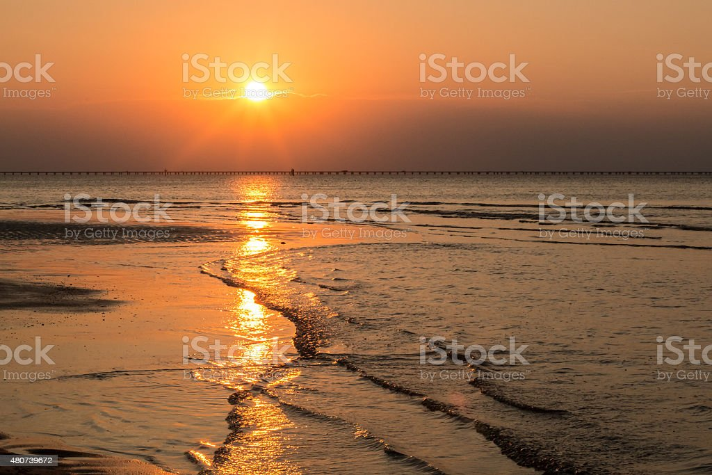Sunset at Low Tide stock photo