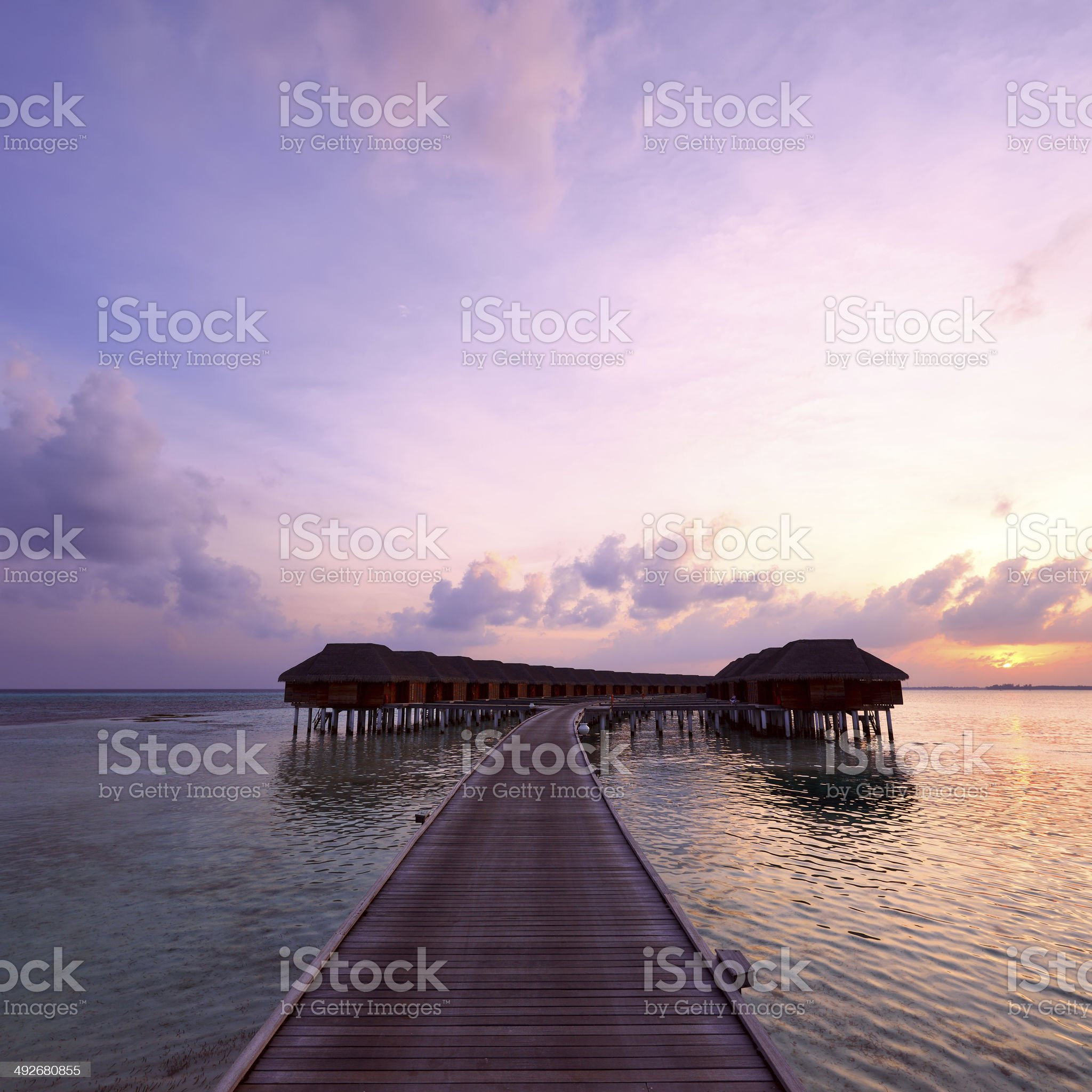 Sunset at Maldivian beach royalty-free stock photo