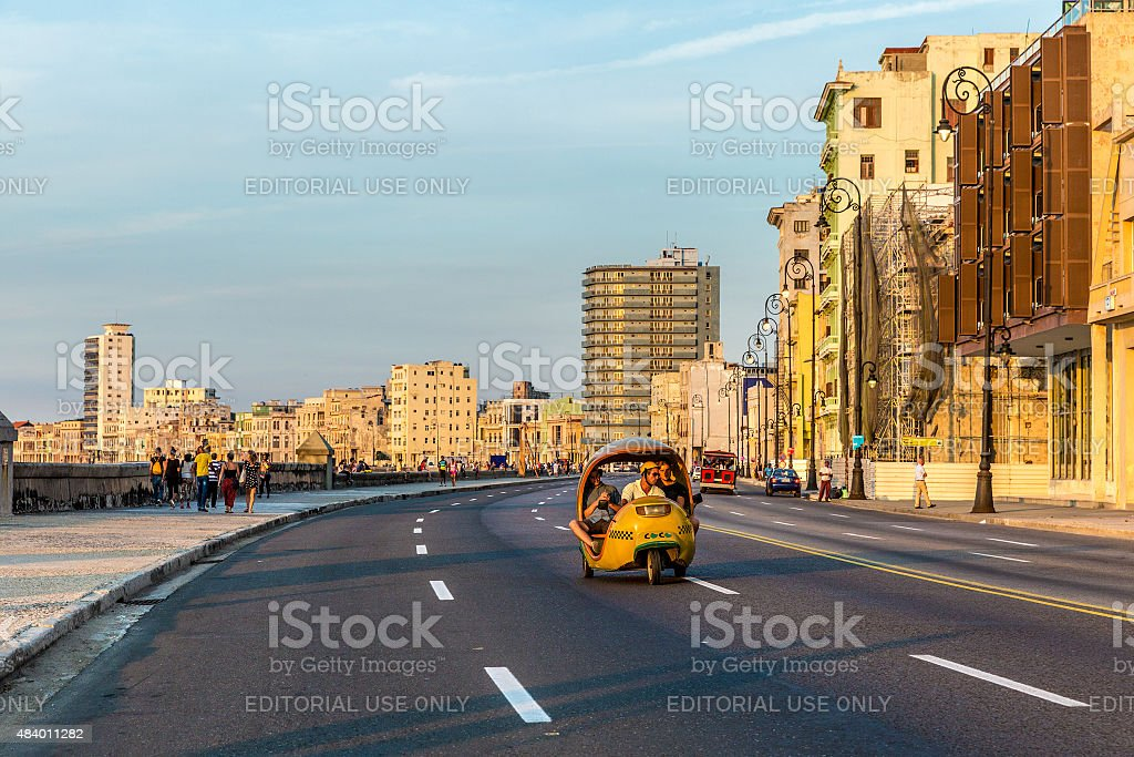 Sunset at Malecon avenue in Havana, Cuba stock photo