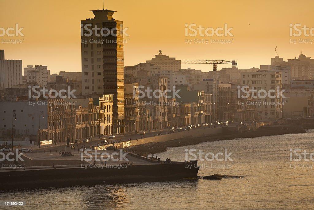 Sunset at Malecon of Havana Cuba royalty-free stock photo