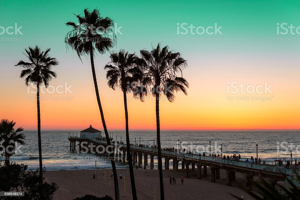 Sunset at Manhattan Beach. Vintage processed. stock photo