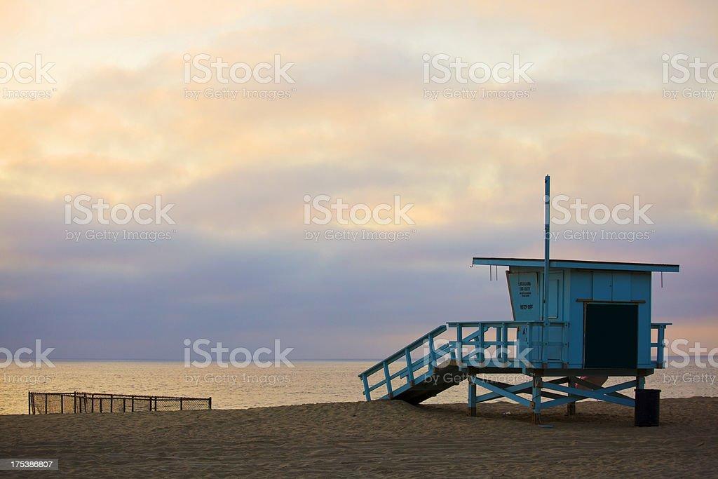 Sunset at Marina Del Rey Beach stock photo