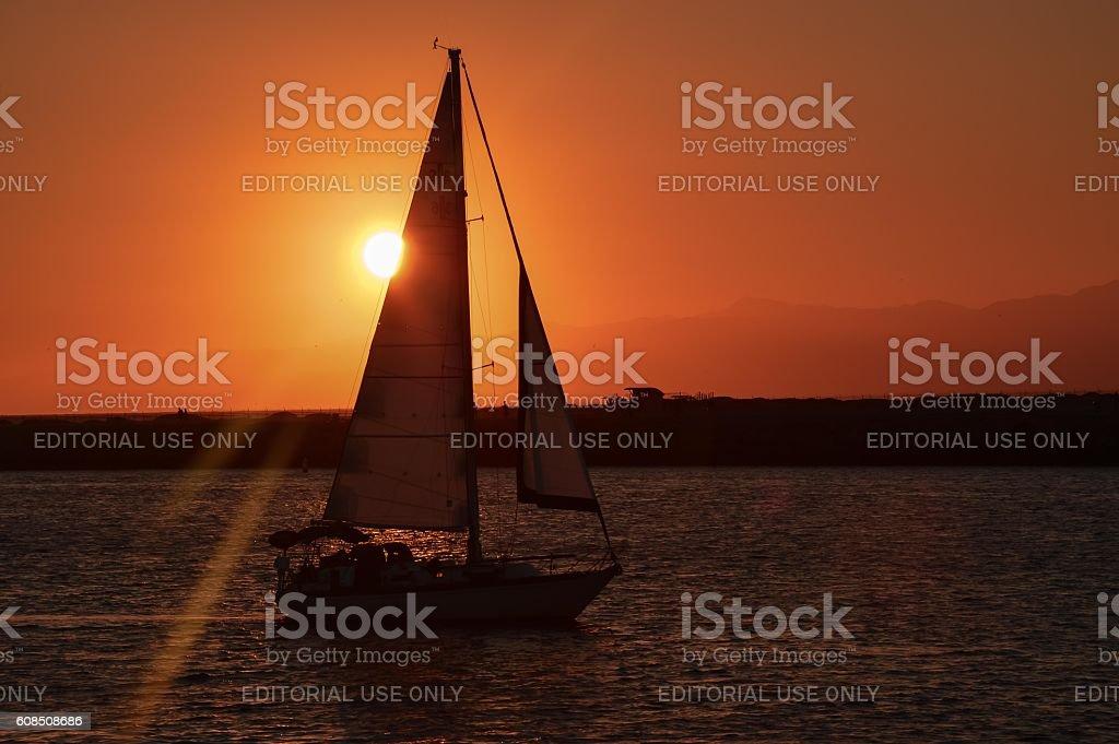 Sunset at Marina Del Rey stock photo
