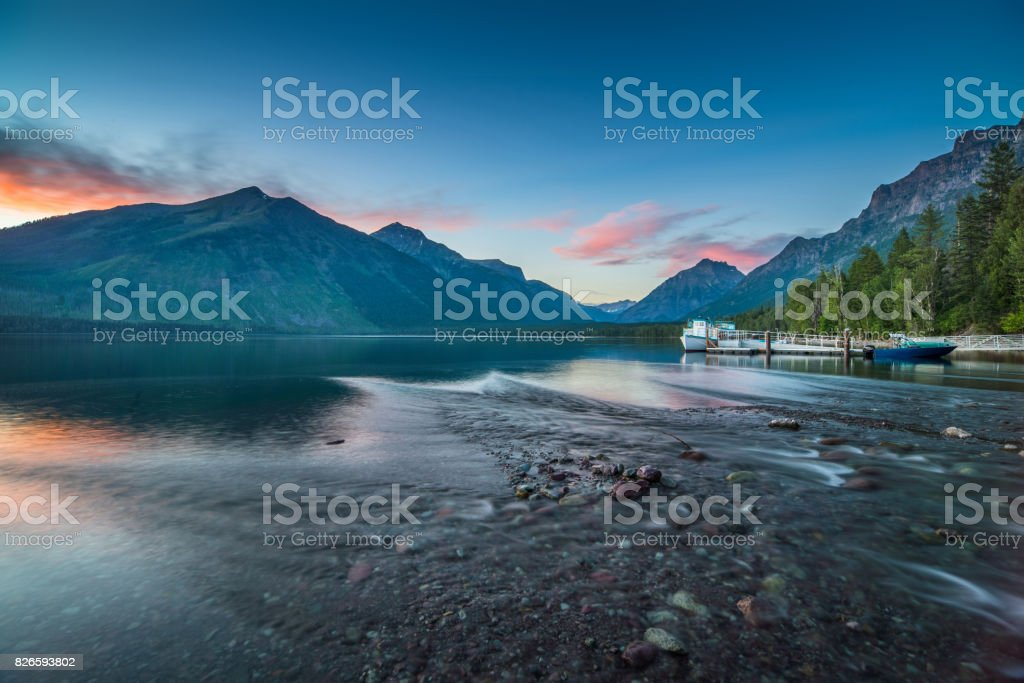 Sunset at Mcdonald Lake stock photo