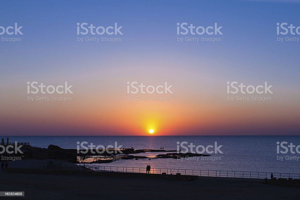sunset at Mediterranean sea royalty-free stock photo