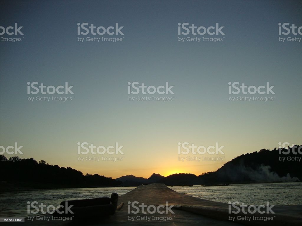 Sunset at Mekong River - Laos, Luang Prabang stock photo