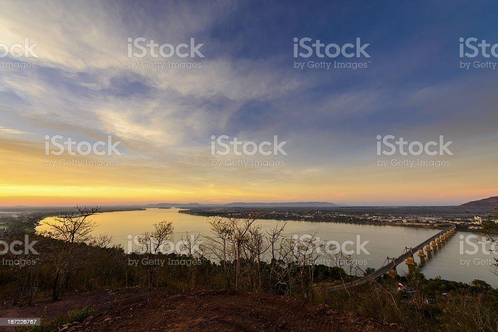 Sunset at Mekong River. stock photo