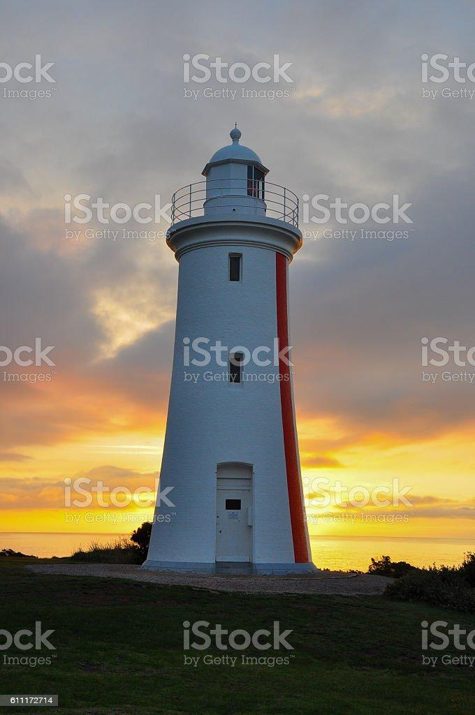 Sunset at Mersey Bluff Lighthouse, Devonport, Northern Tasmania, Australia stock photo