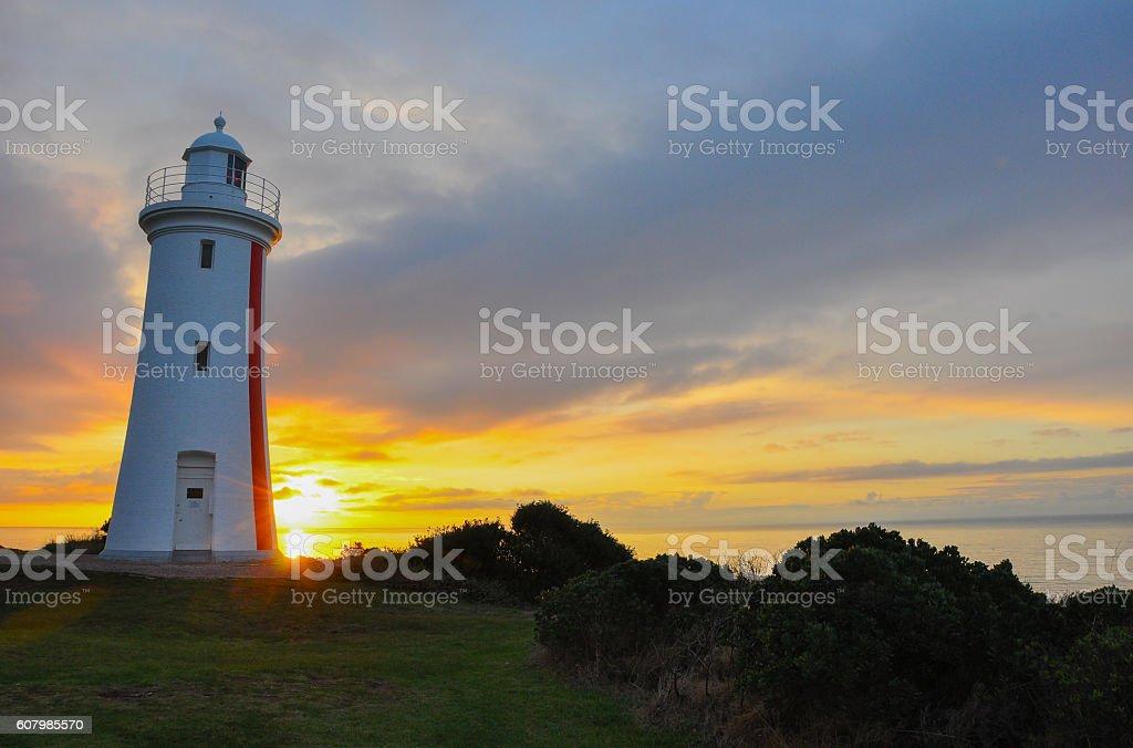Sunset at Mersey Bluff Lighthouse, Tasmania, Australia stock photo