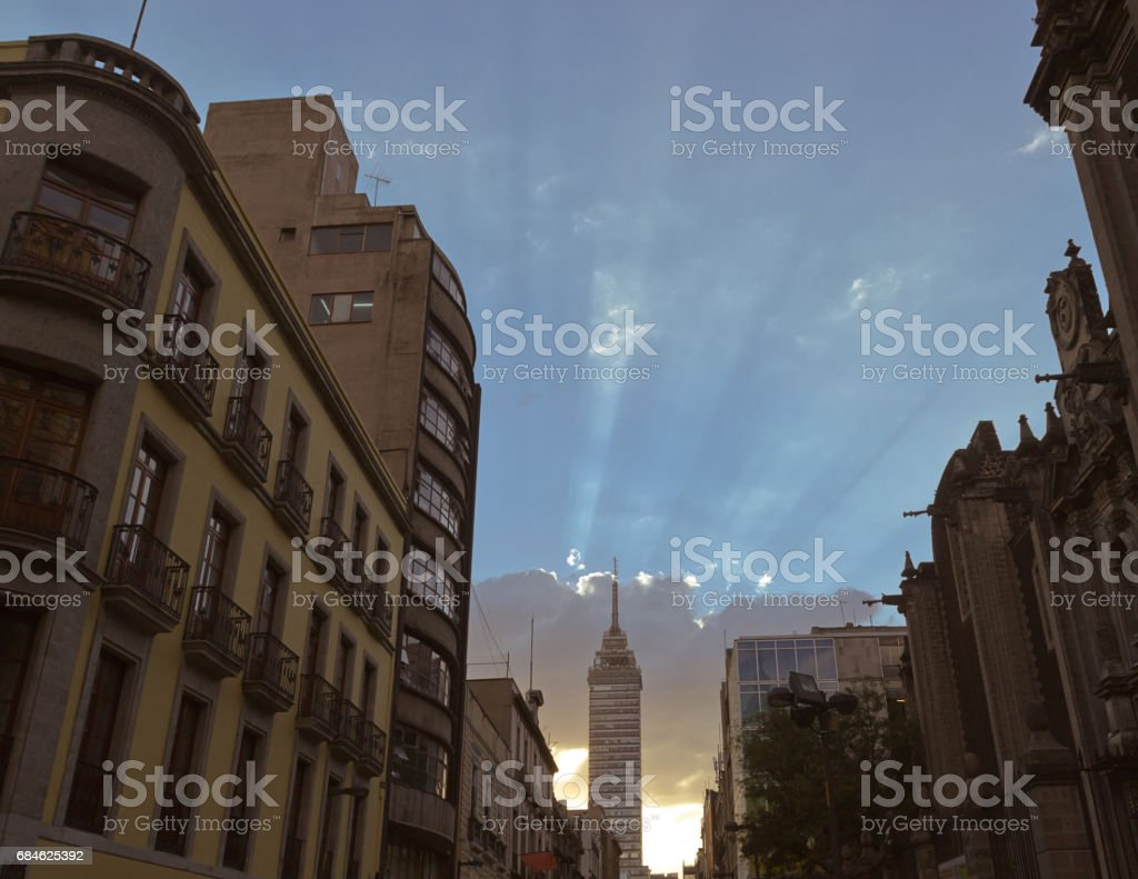 Sunset at Mexico city downtown stock photo