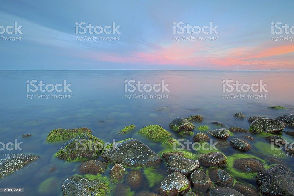Sunset at Moelen stock photo