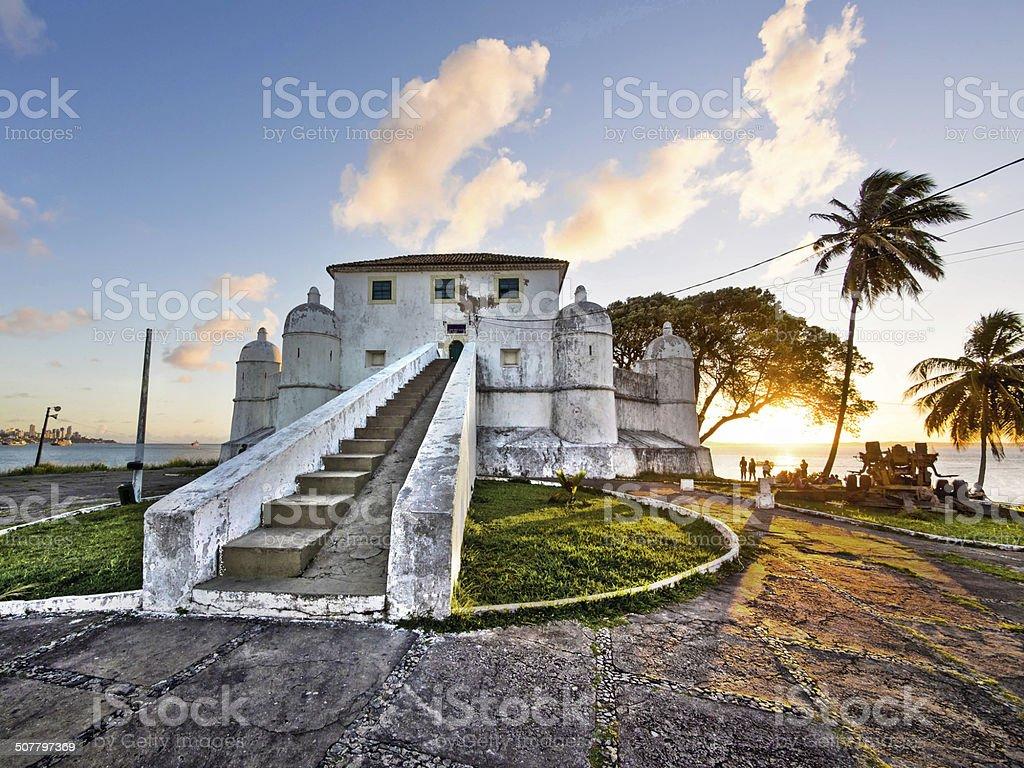 Sunset at Monte Serrat Fort, Salvador da Bahia, Brazil stock photo