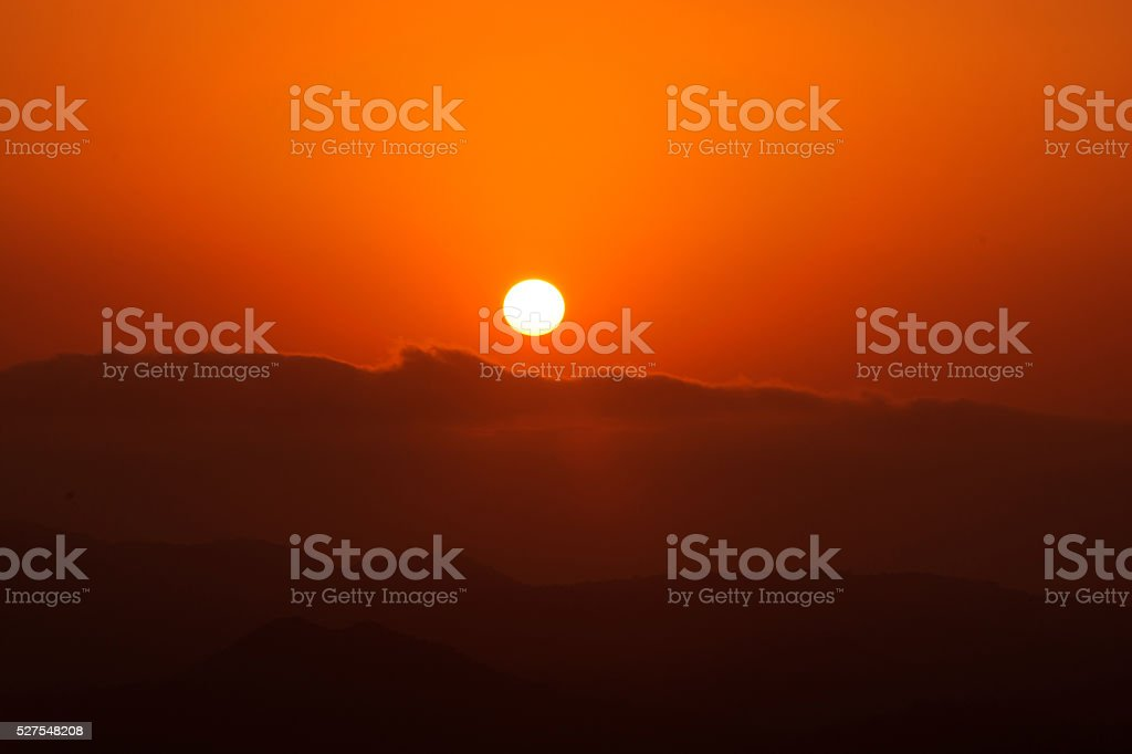 Sunset At Mountains stock photo