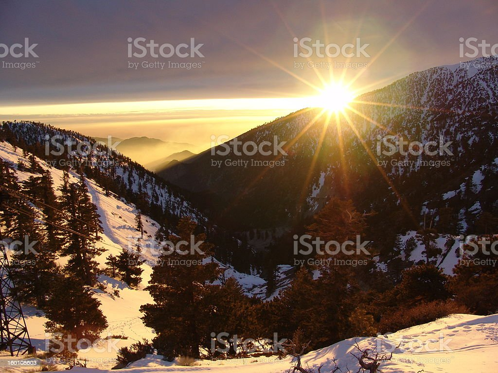 Sunset at Mt. Baldy stock photo
