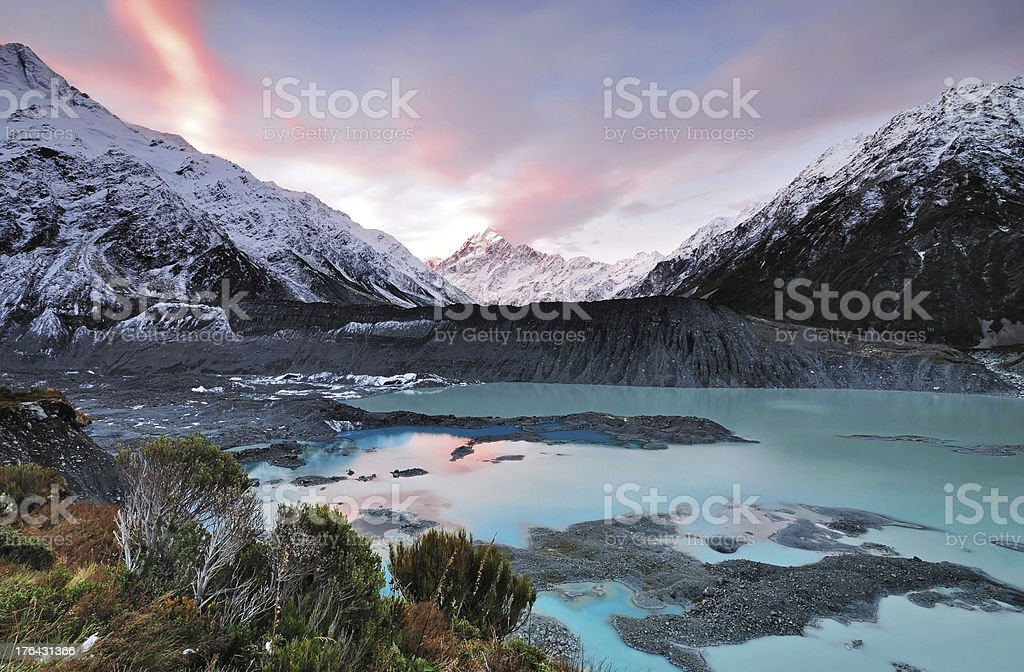 Sunset at Mt Cook Aoraki National Park stock photo