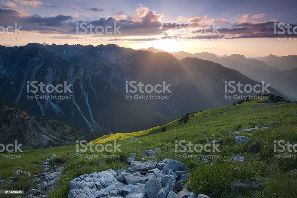 sunset at mt. galtjoch royalty-free stock photo