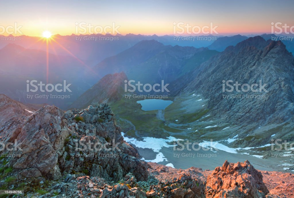 sunset at mt. kogelseespitz tirol, austria, european alps stock photo