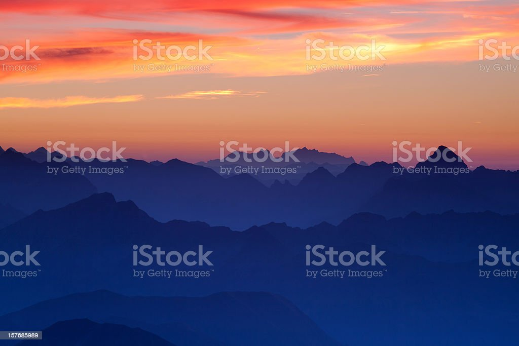 sunset at mt. zugspitz royalty-free stock photo