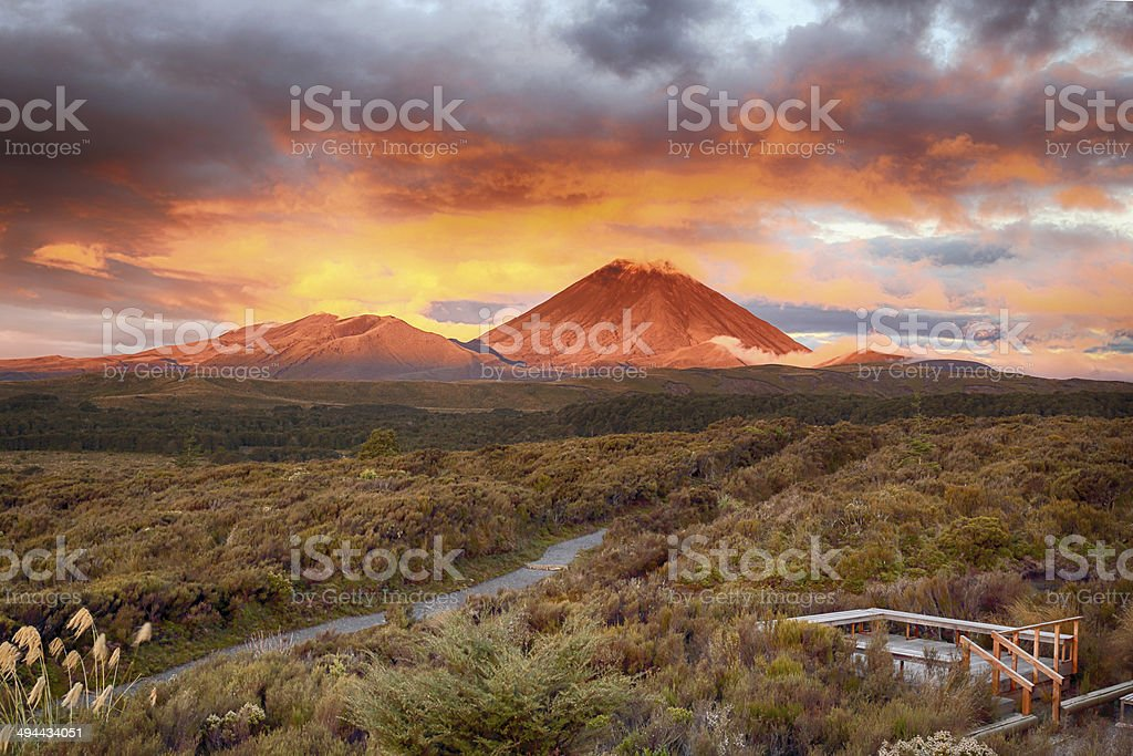 Sunset at Mt.Ngauruho, New Zealand stock photo