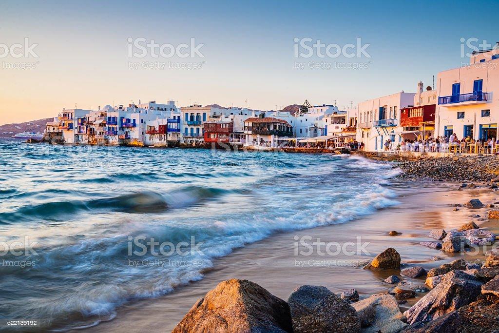 Sunset at Mykonos Little Venice stock photo