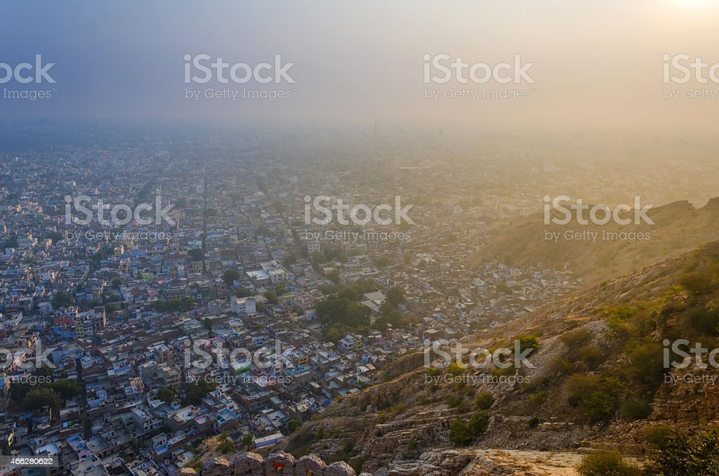 Sunset at Nahargarh fort and view to Jaipur city stock photo