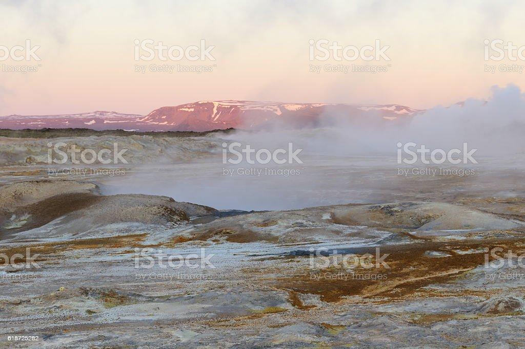 Sunset at Namaskard in Iceland stock photo