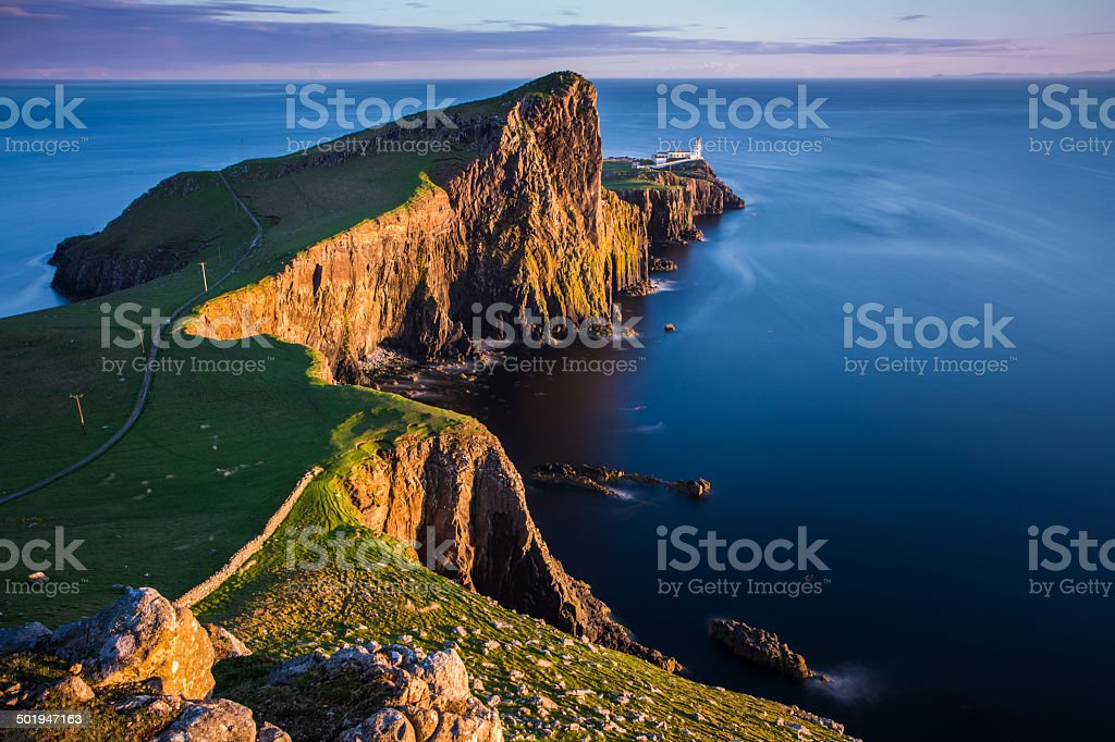 Sunset at Neist point lighthouse, Scotland stock photo