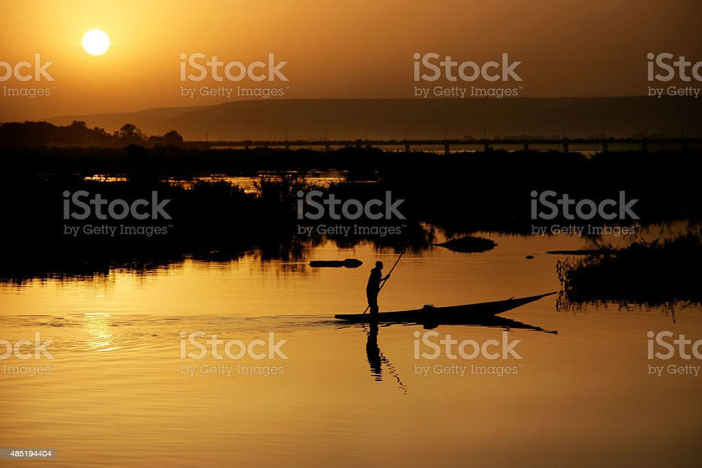 Sunset at Niger River stock photo