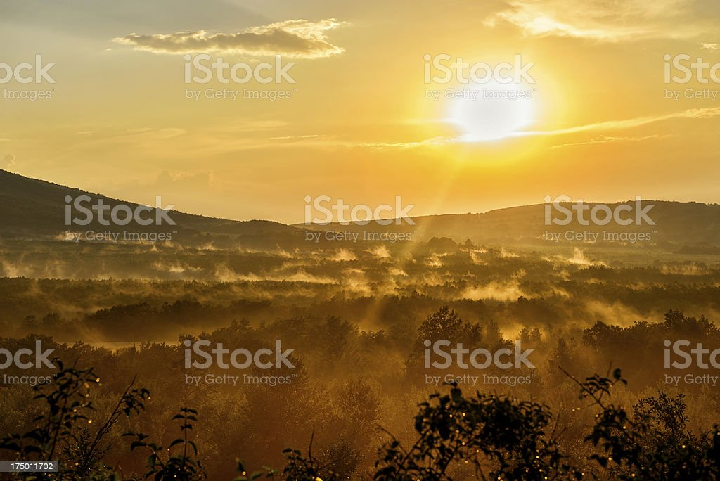 Sunset at North Bulgaria forests royalty-free stock photo