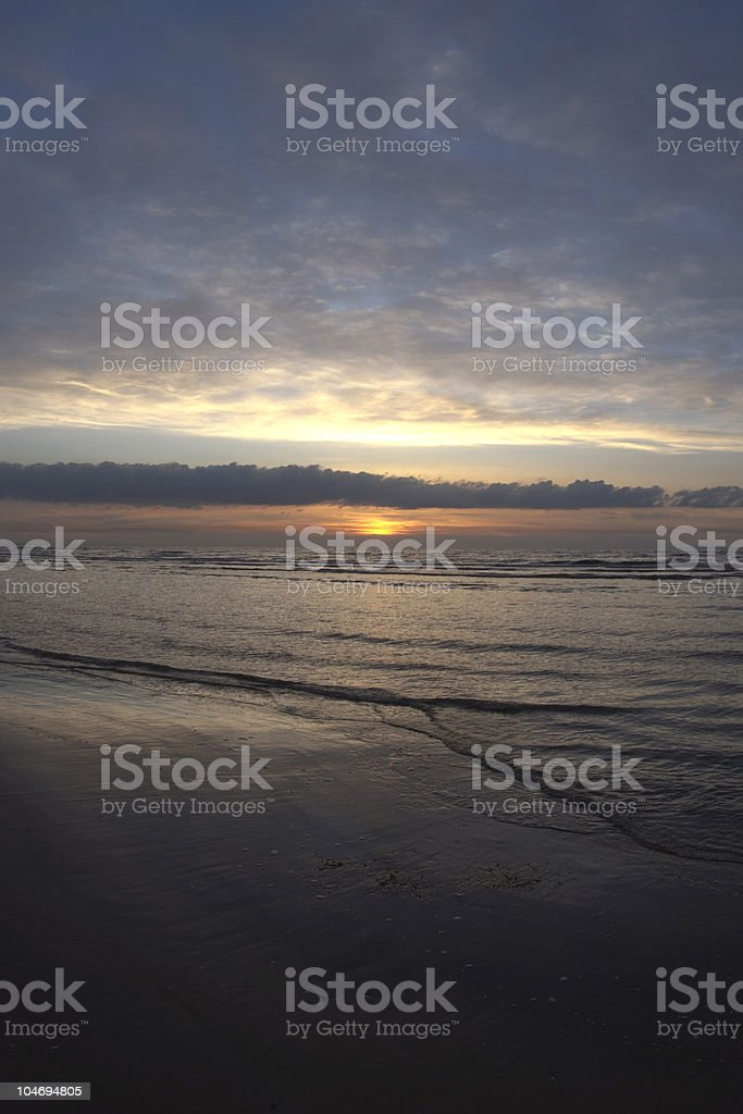 Sunset at North Sea beach, copy space, oceanfront stock photo