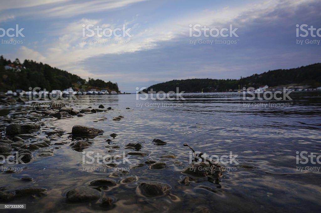 Sunset at Norwegian bay royalty-free stock photo