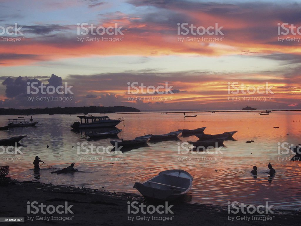 Sunset at Nusa Lembongan island near Bali, Indonesia royalty-free stock photo