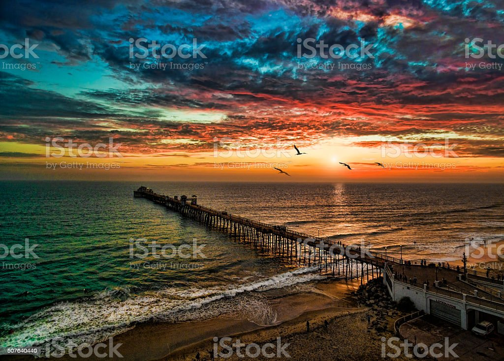 Sunset at Oceanside stock photo
