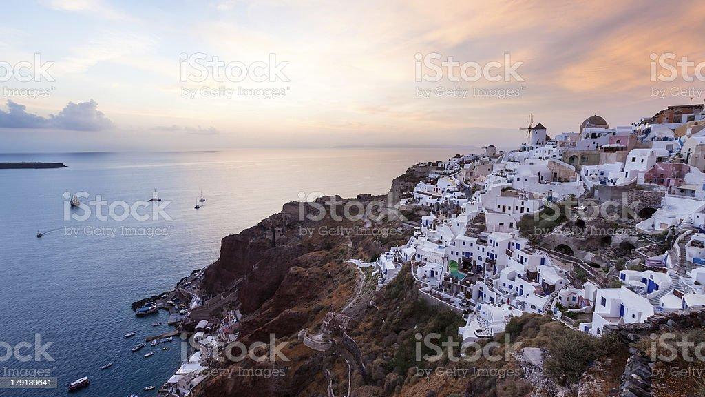 Coucher de soleil à Santorin d'Oia photo libre de droits