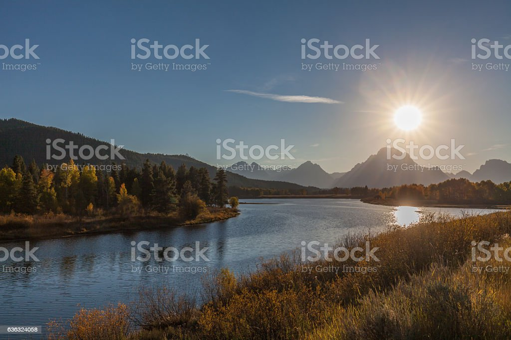 Sunset at Oxbow Bend in Fall stock photo