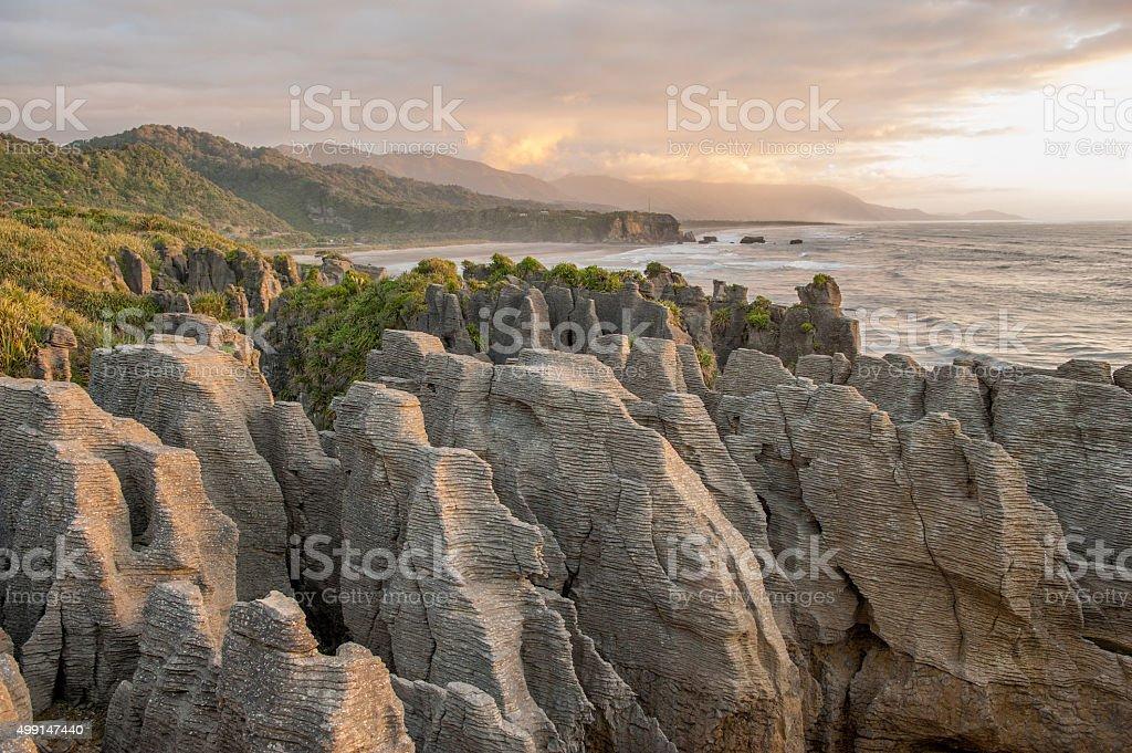 Sunset at Pancake Rocks, South Island, NZ stock photo