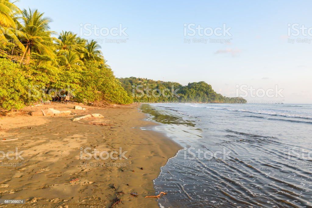Sunset at paradise beach in Uvita, Costa Rica - beautiful beaches and tropical forest at pacific coast of Costa Rica stock photo