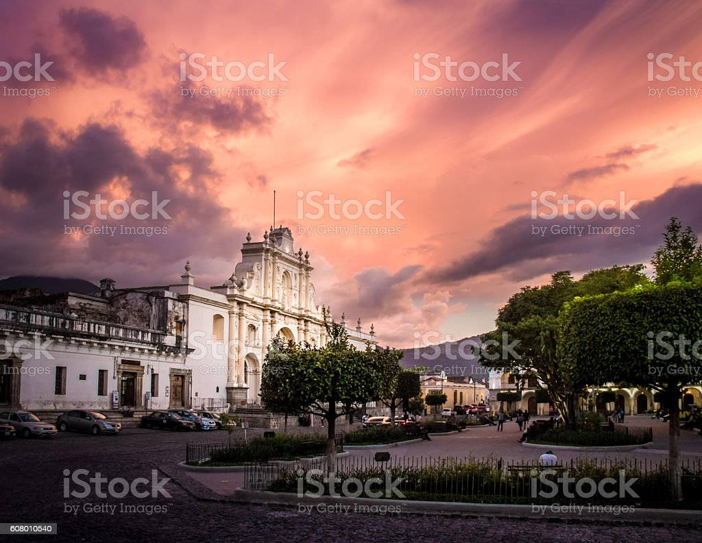 Sunset at Parque Central - Antigua, Guatemala stock photo