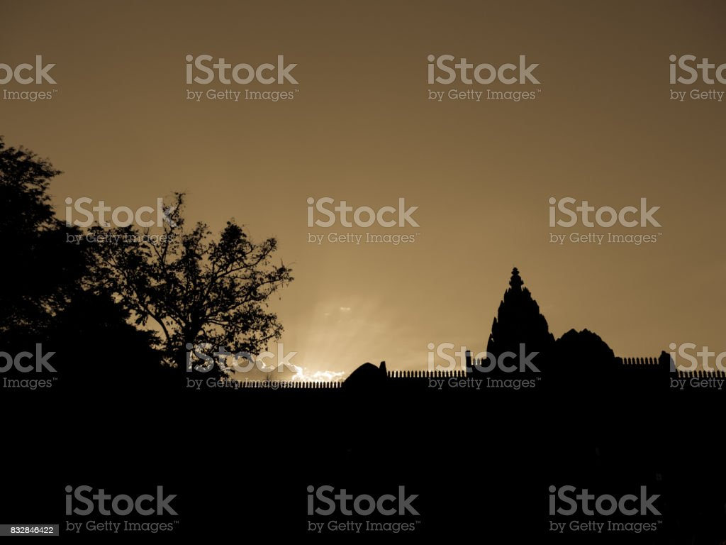 Sunset at 'Phanon roog' castle rook stock photo