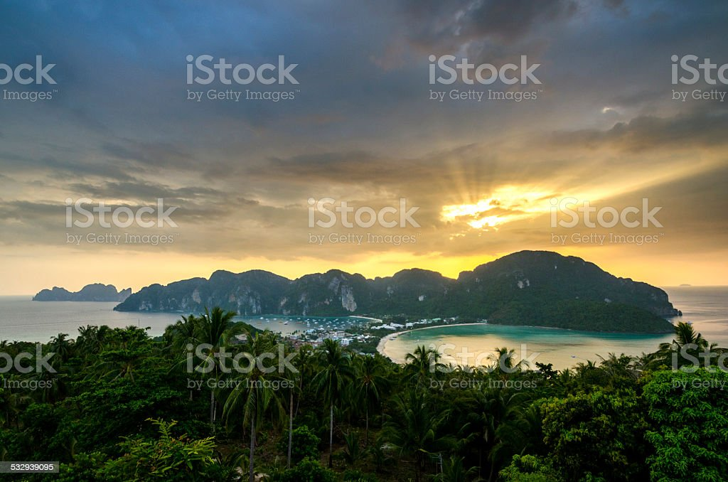 Sunset at Phi Phi Viewpoint, Thailand stock photo